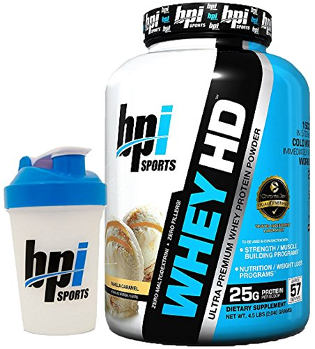 BPI Sports Whey-HD Ultra Premium Whey Protein Powder, 4.5 lbs with BONUS BPI Shaker Bottle (Vanilla Caramel)
