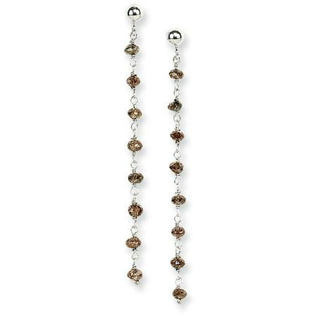 14k Gold Brown Diamond Briolette Earring - 1.25 dwt Golden Brown Earring