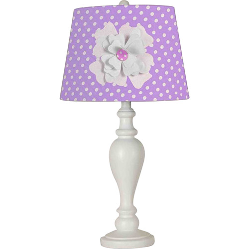 """24.5"""" Purple Shade with Flower Desk Lamp/Shade"""