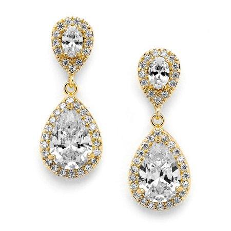 Mariell Gold Zirconia Crystal Tear Drop Wedding Earrings for Women, Jewelry for Bride, Prom,