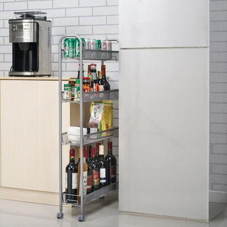 Wide Cupboard (Zimtown 4-Tier Gap Kitchen Slim Slide Out Storage Tower Rack with Wheels, Cupboard )