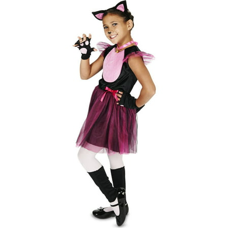 Little Black and Pink Cat Child Halloween Costume - Makeup For Cat Halloween Costume