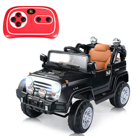 Costway 12V MP3 Kids Ride On Truck Jeep Car RC Remote Control w/ LED Lights - Kids Light Toys