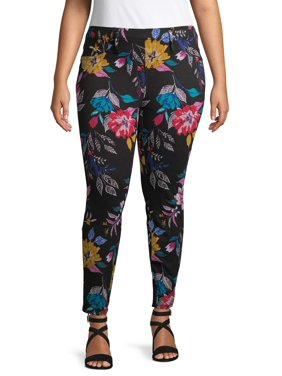 Terra & Sky Women's Plus Size Floral Printed Jegging