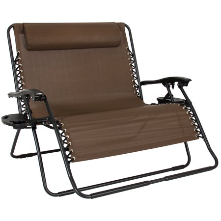 Best Choice Products 2-Person Double Wide Folding Zero Gravity Chair Patio Lounger w/ Cup Holders -