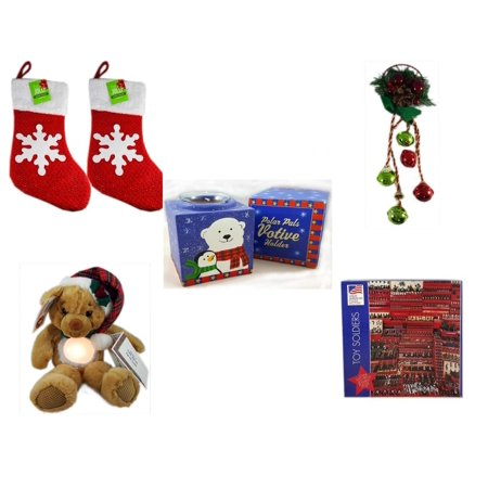 "Christmas Fun Gift Bundle [5 Piece] - Be Jolly Sparkle Stocking 19"" Set of 2 - Festive Holly Berry & Pinecone Door Knob Jingler - Polar Pals Votive Holder - First & Main Chuckles The Tap On Teddy Ni"