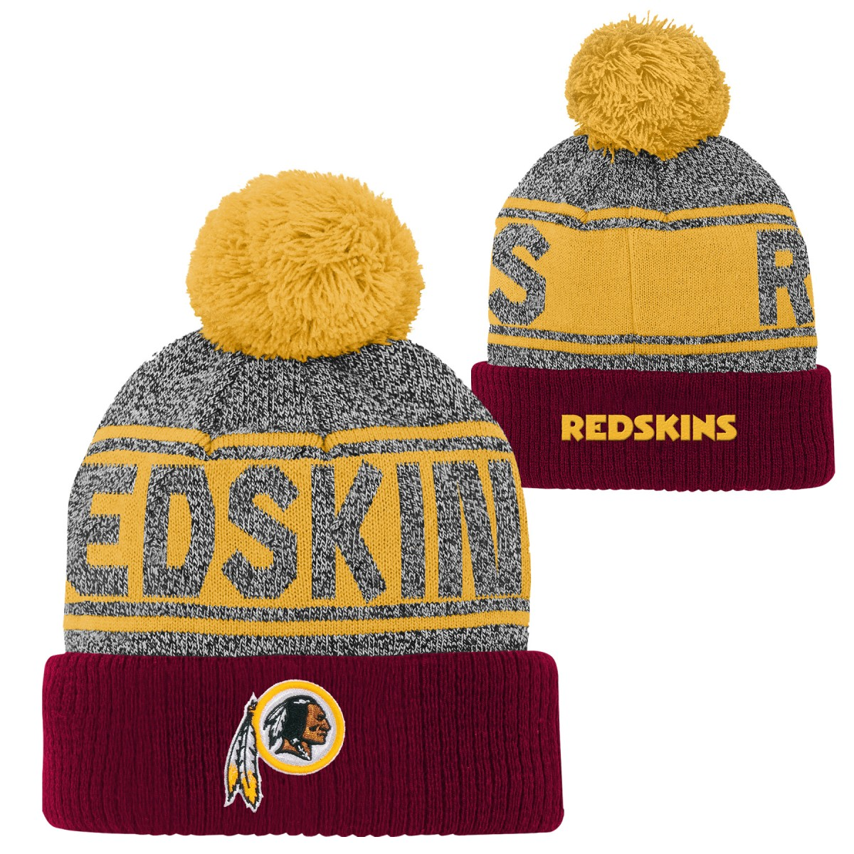 "Washington Redskins Youth NFL ""Legacy"" Cuffed Knit Hat w/ Pom"