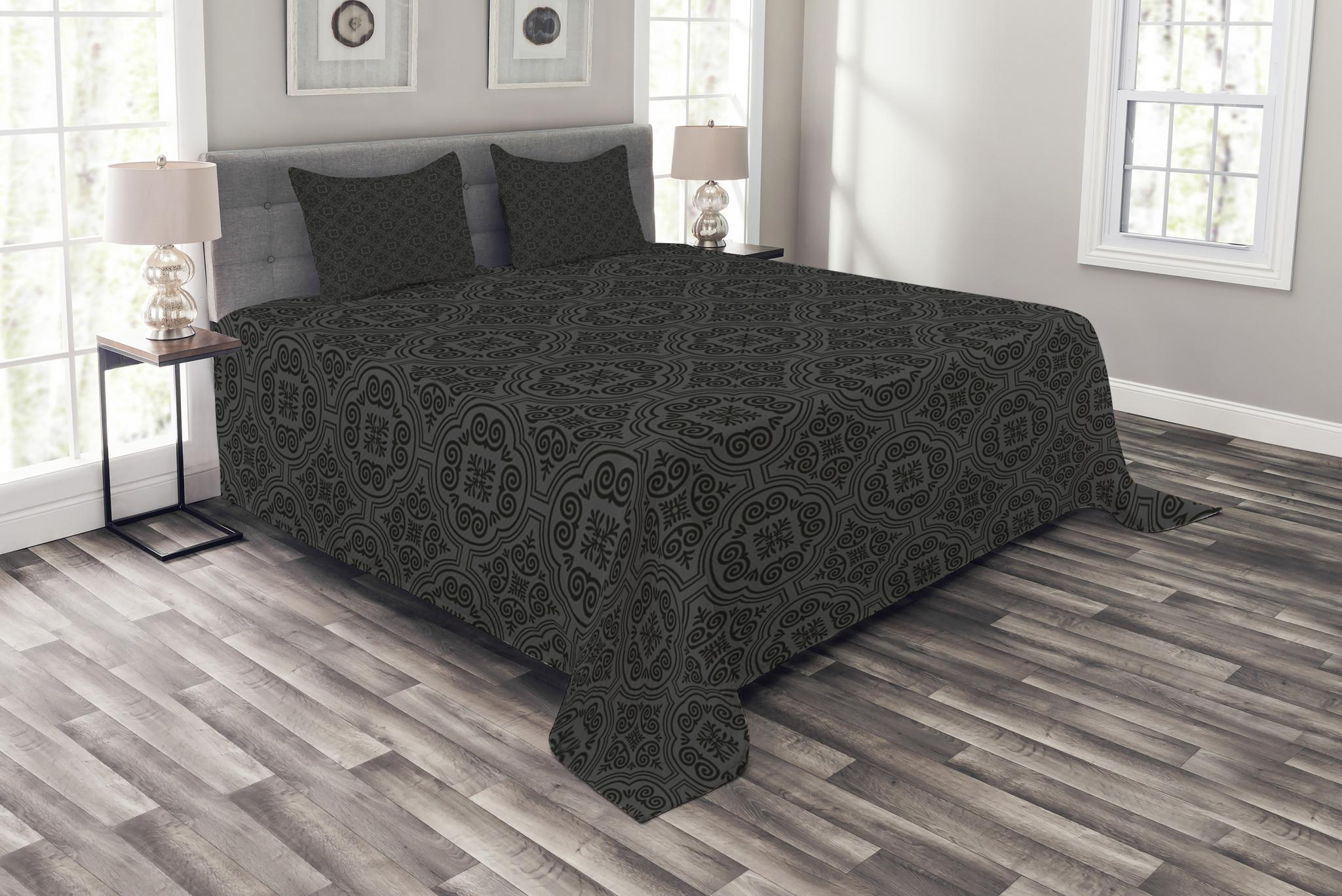 Antique Quilted Bedspread /& Pillow Shams Set Lace Gothic Pattern Print