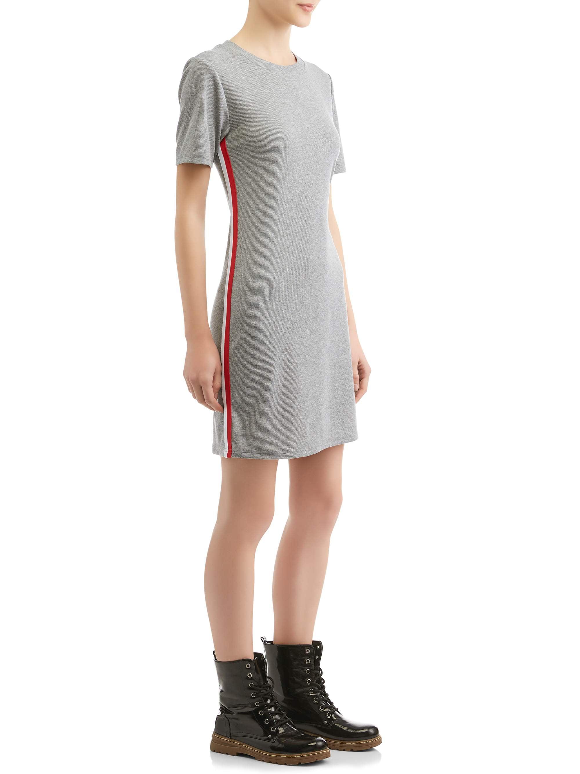 Juniors' Rib Knit Athletic Stripe Mini Dress