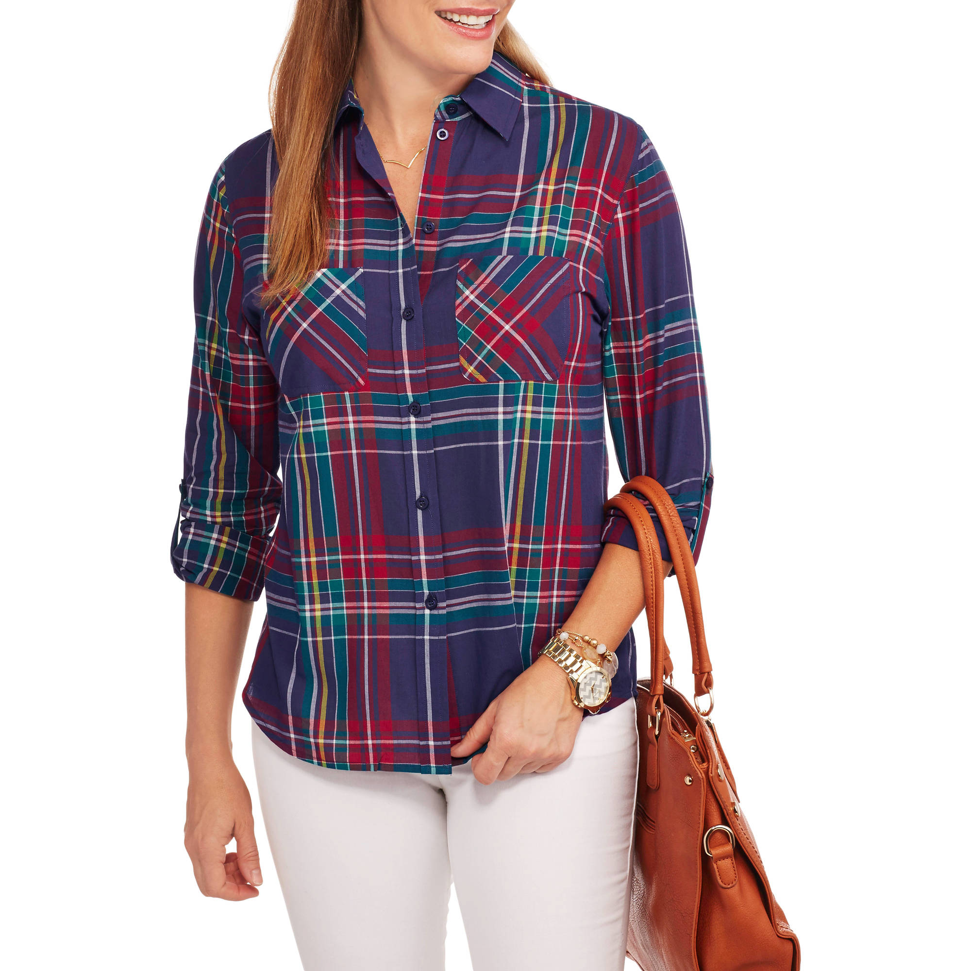 Brooke Leigh Women's Sheer Plaid Blouse