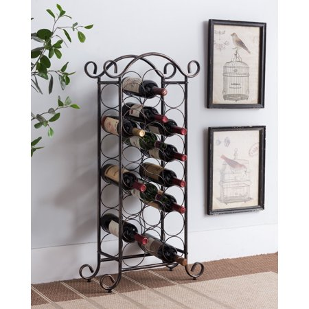 Kaiden Brushed Copper Metal Transitional 21 Bottle Wine Rack Organizer Display Stand