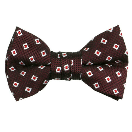 Spring Notion Boys' Pre-tied Woven Bow Tie Small Burgundy Diamonds - Green Paisley Bow Tie