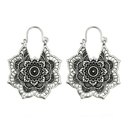 Iuhan Antique silver Gypsy Indian Tribal Ethnic Hoop Dangle Mandala Earrings Boho