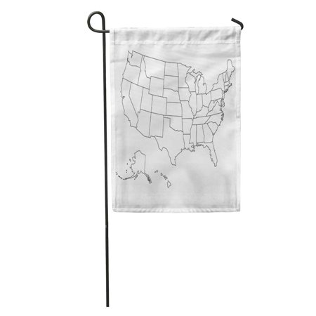 SIDONKU State Blank Outline Map of USA United Line White Simple Black Garden Flag Decorative Flag House Banner 12x18