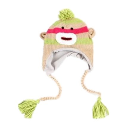 Manhattan Hat Company Womens Green Striped Sock Monkey Peruvian Hat Pom - Adult Sock Monkey Hat