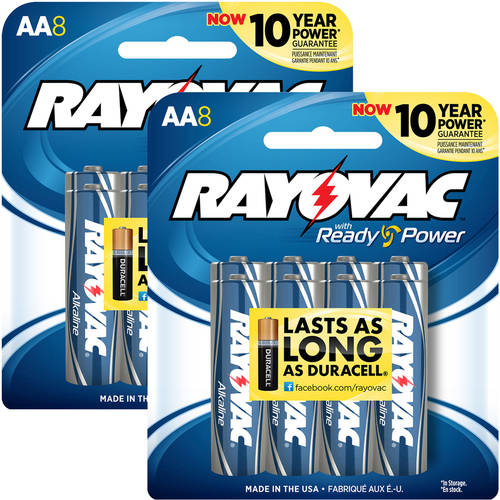 Rayovac Alkaline Multi-Pack AA Batteries, 8-Pack (Pack of 2)