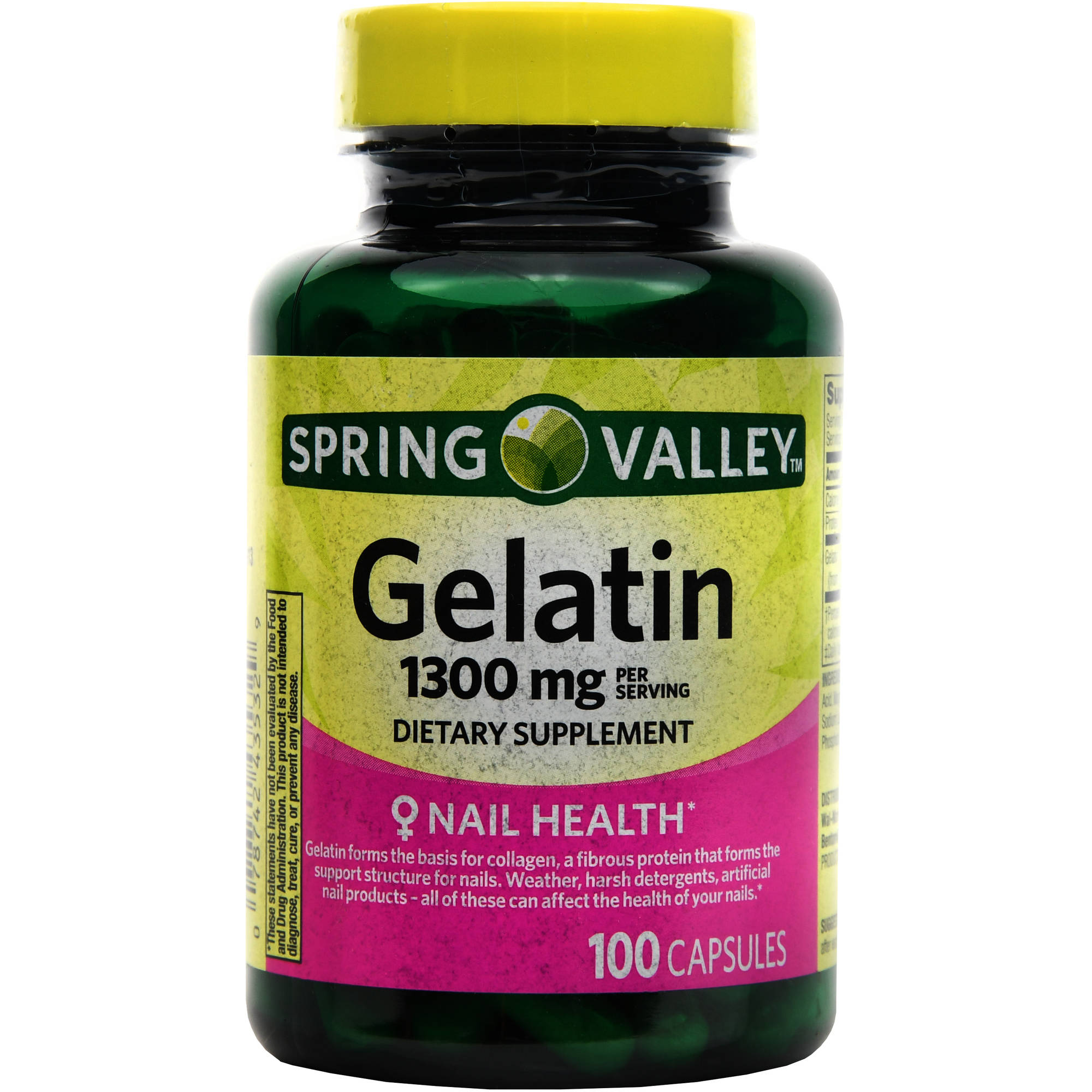 Spring Valley Gelatin Capsules, 1300 mg, 100 count