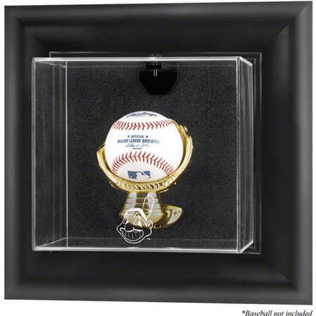 (MLB - Cleveland Indians Framed Wall Mounted Logo Baseball Display Case)