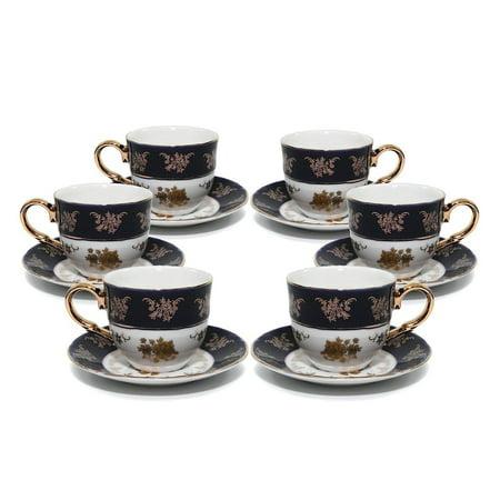 Royalty Porcelain 12pc Cobalt Blue Gold-Plated 24K, Miniature Coffee Set