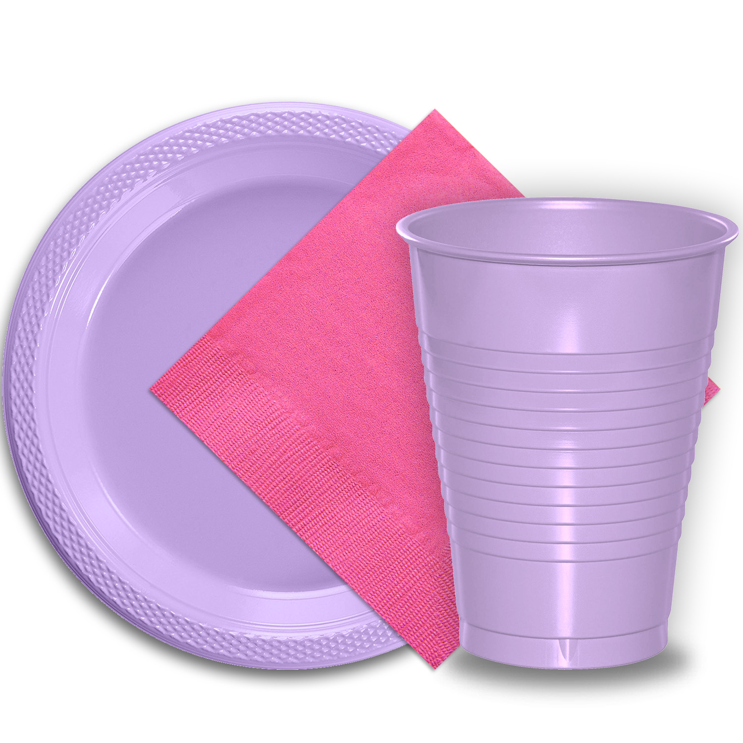 """50 Lavender Plastic Plates (9""""), 50 Lavender Plastic Cups (12 oz.), and 50 Hot Pink Paper Napkins, Dazzelling Colored Disposable Party Supplies Tableware Set for Fifty Guests."""