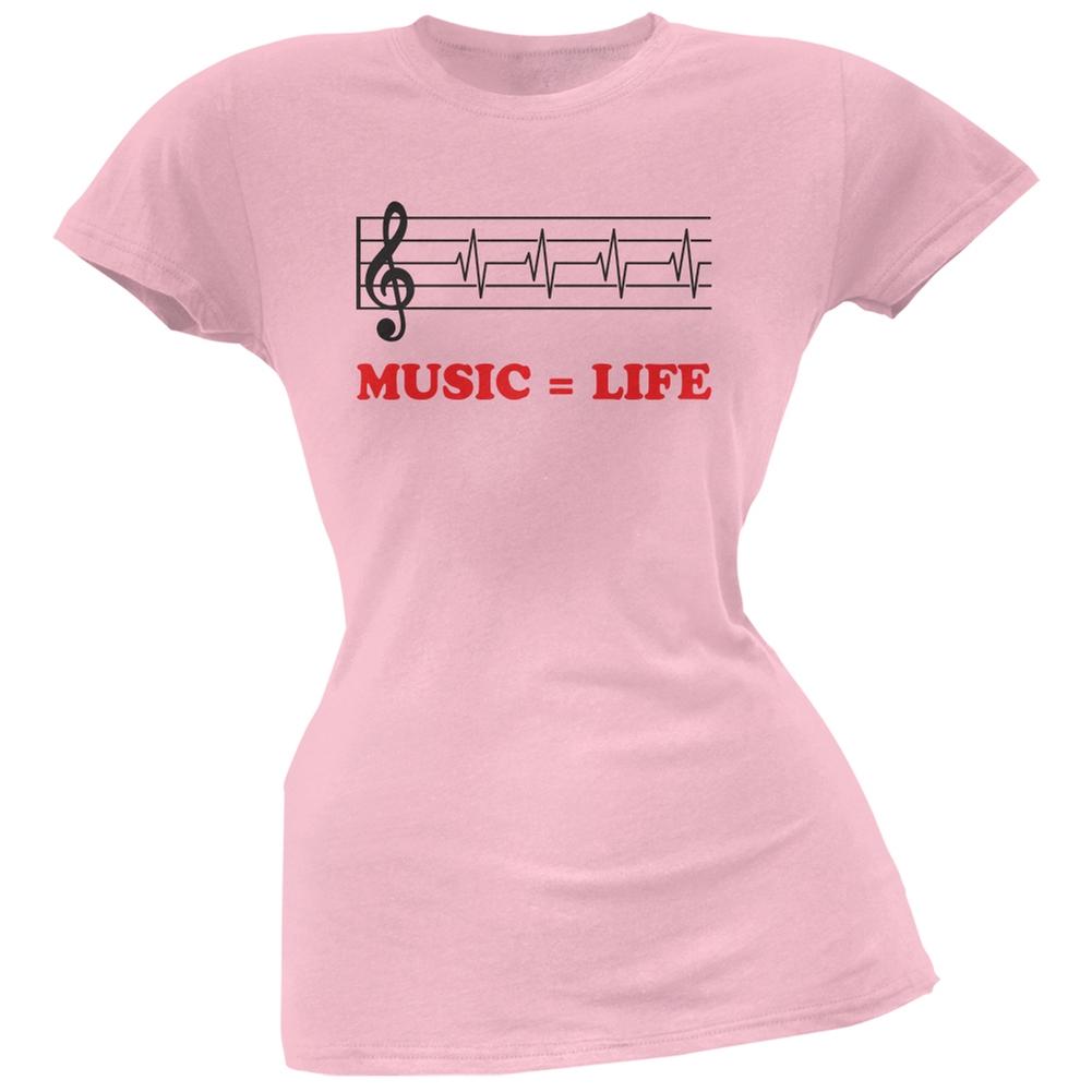 Music=Life Treble Clef Light Pink Soft Juniors T-Shirt