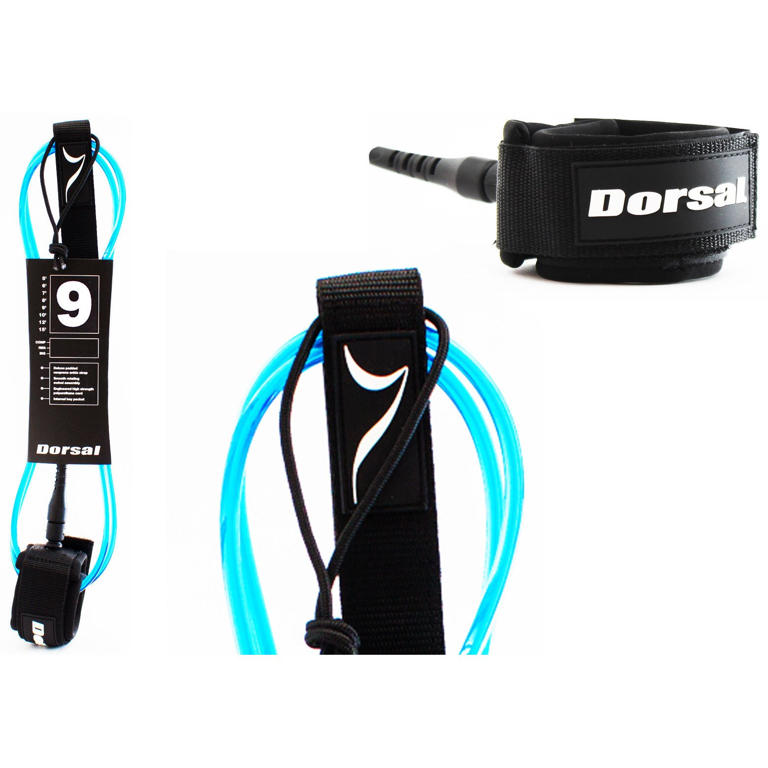 Dorsal Premium Surfboard 6, 7, 8, 9, 10 FT Surf Leash - Blue