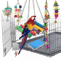 7 Pcs Pet Bird Cage Hammock Swing Climbing Ladders Toy Wooden Perch Mirror Chewing Toy for Conures, Love Birds, Small Parakeets Cockatiels, Macaws