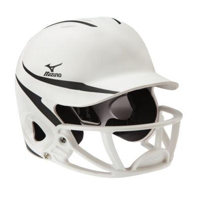 Mizuno Mvp Two Tone Polycarbonate Facemask Batting Helmet L Xl White Black