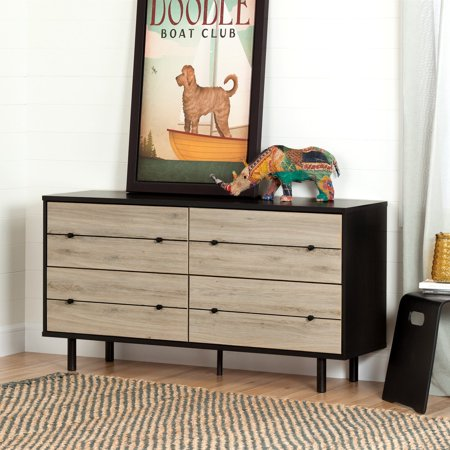South Shore Morice 4-Drawer Double Dresser, Ebony and Rustic Oak