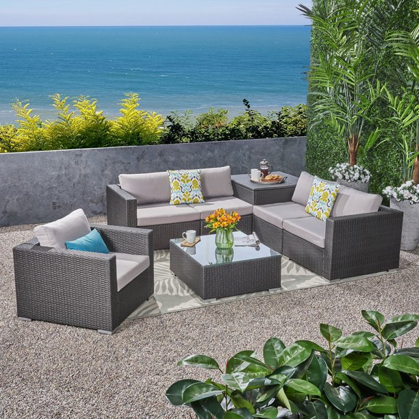Brooke Outdoor 8 Piece Wicker And Aluminum Sectional Sofa Set With Coffee Table Storage Ottoman And Club Chair Gray Silver Walmart Com Walmart Com