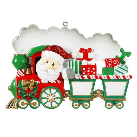 Single Family Train 3 - 4 Kids Personalized Christmas Ornament (Personalized Train)