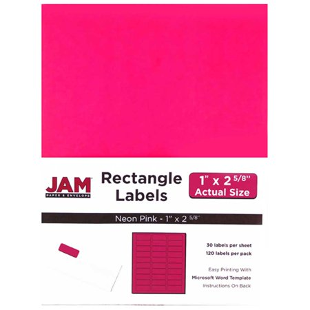 JAM Paper Mailing Address Labels, Small, 1 x 2 5/8, Neon Fluorescent Pink, 30 Labels per Page/120 Labels