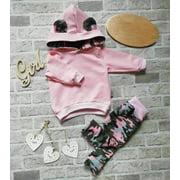 XIAXAIXU Newborn Baby Girl Clothes Hooded Sweatshirt Tops Pants Camo Tracksuit Outfits