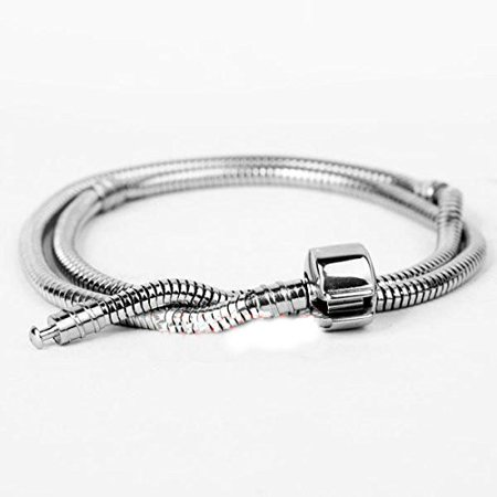 Buckets of Beads 18 Inch Stainless Steel European Charm Necklace Fits Pandora Style Charm Beads For Women And Teen Girls
