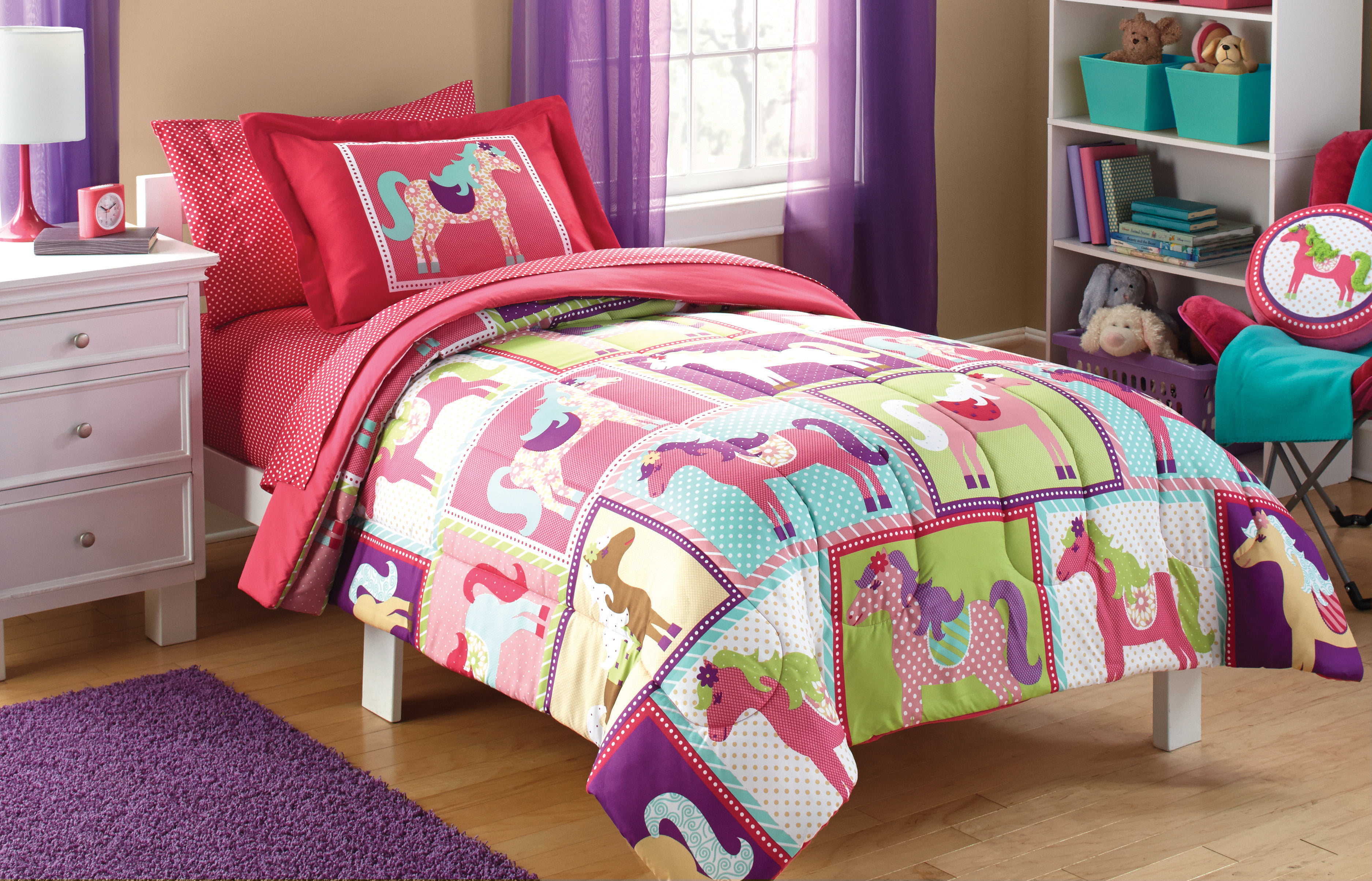 Mainstays Kids Pink Horsey Bed-in-a-Bag Coordinating ...