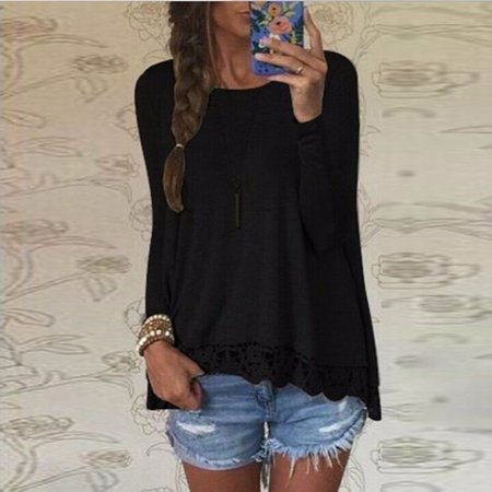Women Crew Neck Long Sleeve Lace Crochet Casual Loose Tops Shirt Blouse