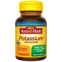 Nature Made Potassium Gluconate 550 mg Tablets, 100 Count for Supporting Heart Health