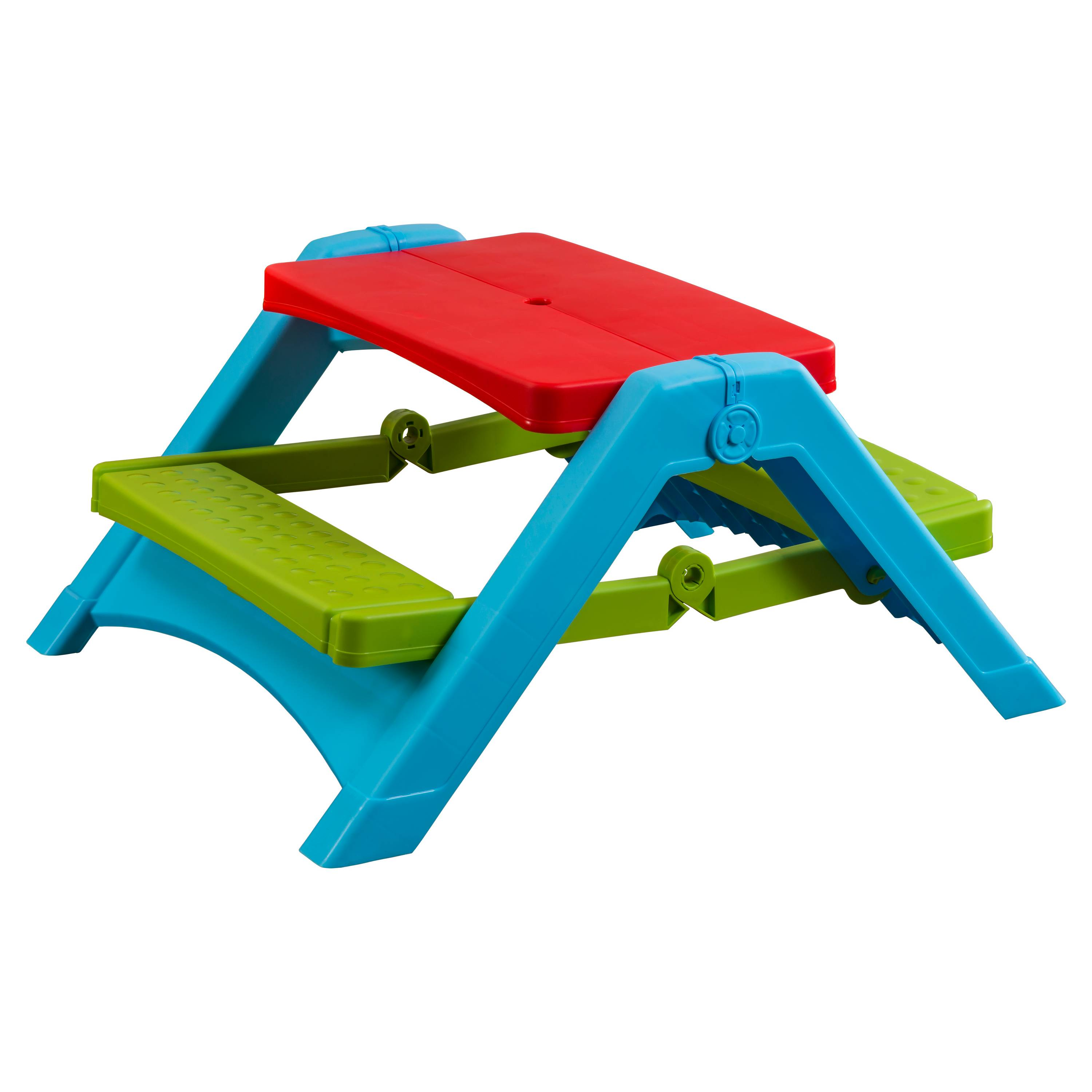PalPlay Children's Foldable Picnic Table, Red/Blue/Green