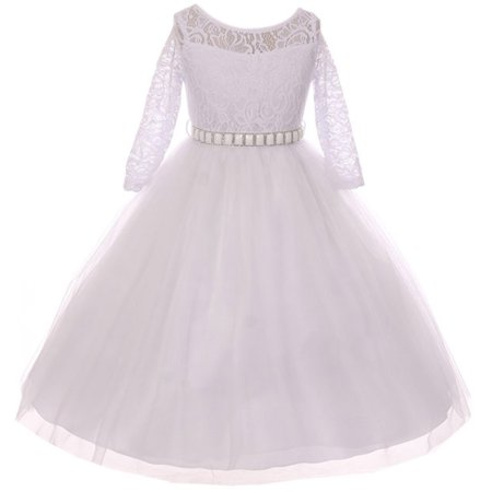 Little Girls Dress Lace Top Rhinestones Tulle Holiday Christmas Party Flower Girl Dress White Size 2 (M37BK2)