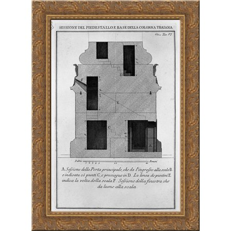 Section as above, the main door and window 20x24 Gold Ornate Wood Framed Canvas Art by Piranesi, Giovanni Battista ()