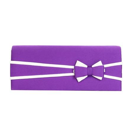 - Premium Matte 2-Tone Bow Front Flap Clutch Evening Bag