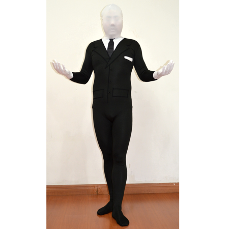 Slenderman Adult Spandex Costume Body Suit Tie Slender Man Mens Black Tux - Meme Halloween Drunk