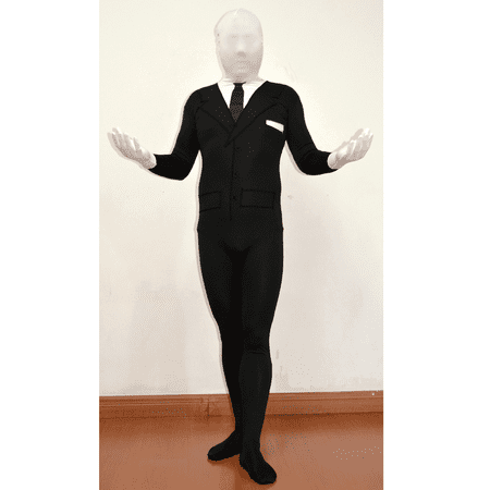 Slenderman Adult Spandex Costume Body Suit Tie Slender Man Mens Black Tux - Slender Man Halloween Prank
