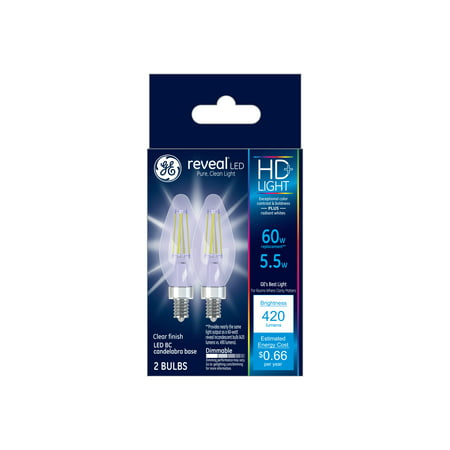 GE LED 5.5W HD Reveal Decorative Small Base, Dimmable, 2pk Light Bulbs
