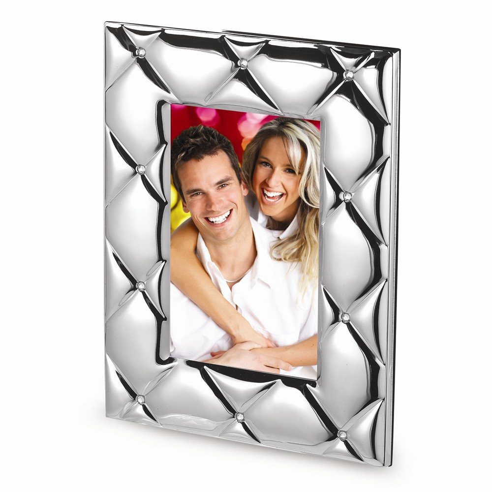 Silver-plated Quilted Metal with Crystals Photo Frame