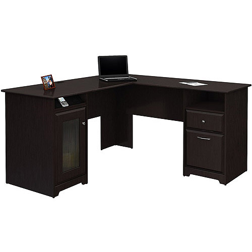 Bush Cabot L-shaped Computer Desk, Espresso Oak - Walmart.com