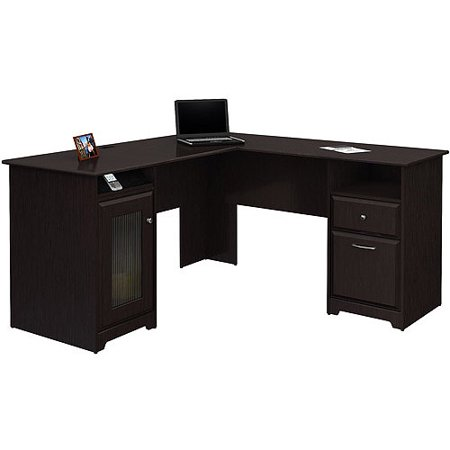 Bush Cabot L-shaped Computer Desk, Espresso Oak 72' Contemporary L-shaped Desk