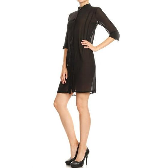 2c80a7c71ba8d3 Anna-Kaci - Casual Junior Womens Black Sheer Chiffon Long Tunic ...