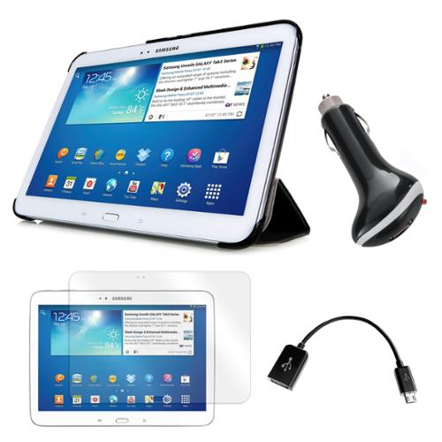 "Tri-Fold Leather Case with Screen Protector, OTG Cable, and Car Charger for Samsung Galaxy Tab 3 10.1"" Tablet"