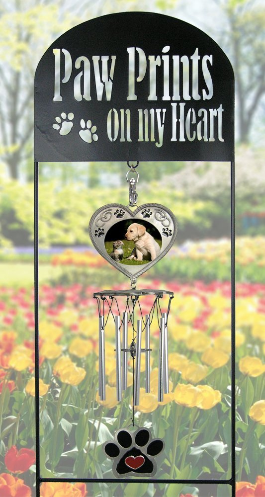 Pet Memorial Garden Stake - Pet Memorial Wind Chimes - Paw Prints on My  Heart - Dog Memorial Gift - Cat Memorial Gift - Pet Sympathy Gifts - Pet